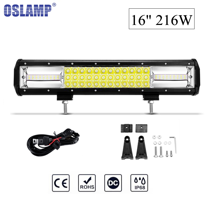 Oslamp 16 216W 6000K Chips Combo Beam LED Work Light Bar Offroad Driving Lamp for Jeep Truck SUV ATV 4x4 4WD 12v 24v oslamp 22inch 324w tri row straight led light bar chips led work light combo beam 12v 24v truck suv 4wd 4x4 offroad led bar