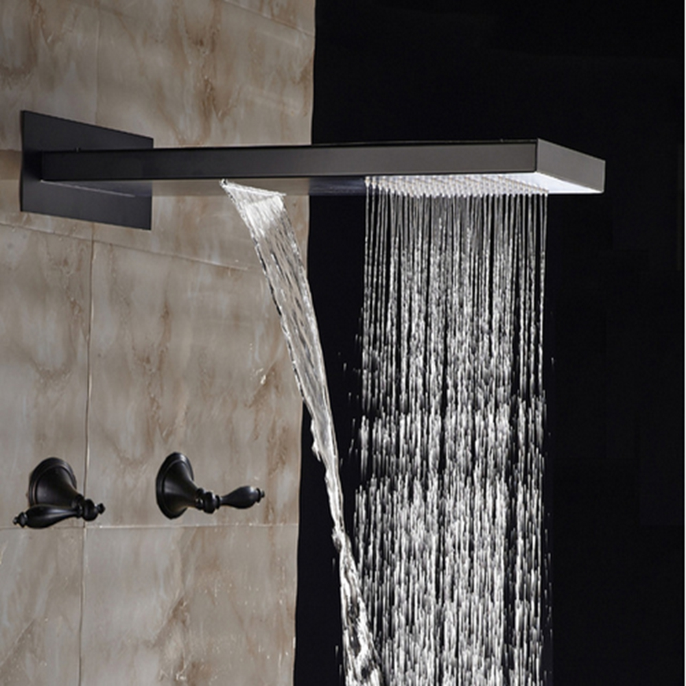 Dual Handles Oil Rubbed Bronze Wall Mounted Shower Faucet Mixer Tap
