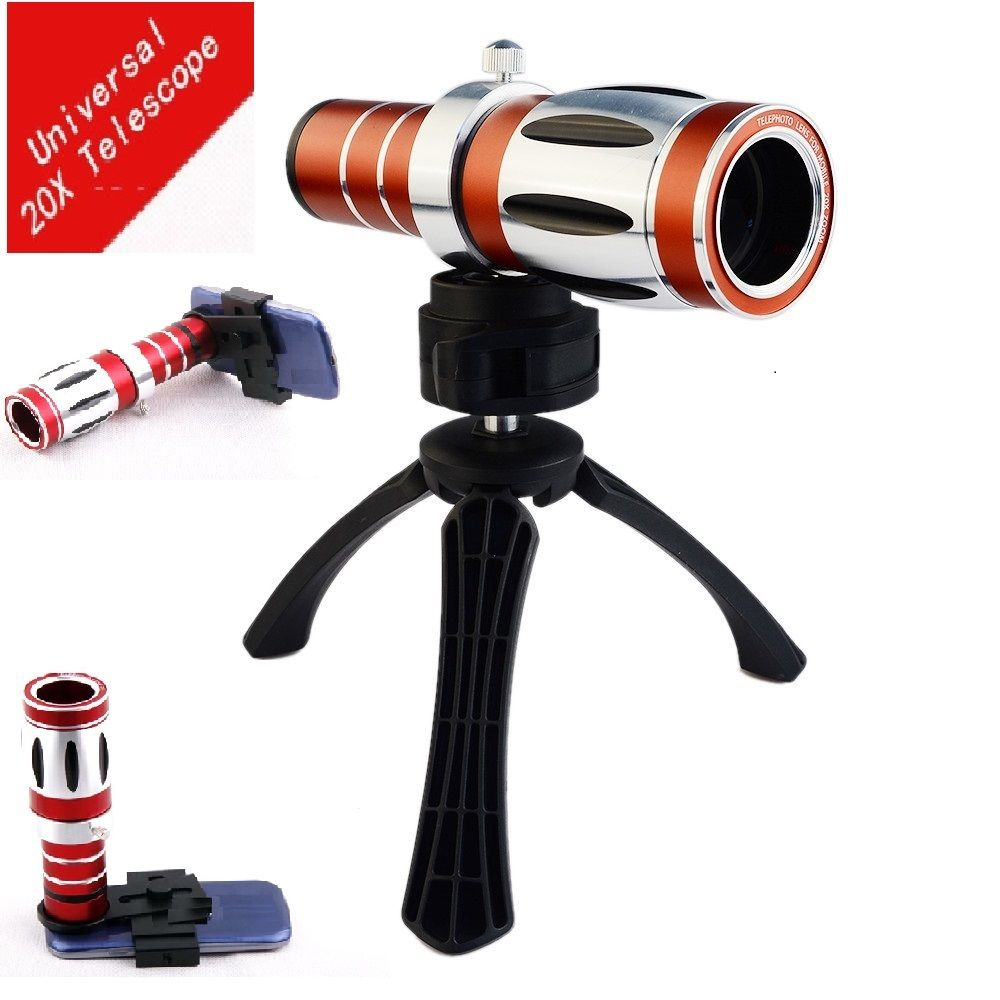 Universa 20X Optical Zoom Telescope Lens Telephoto Camera Tripod For Huawei P9 P8 Lite For Iphone Edge Neo S8 Plus Smartphone 8x zoom optical mobile phone telescope camera white