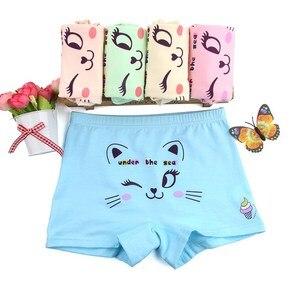 Image 2 - 10 Stks/partij Kinderen Schattige Cartoon Kat Boxer Korte Meisjes Comfortabele Ondergoed Underpant 1 10year