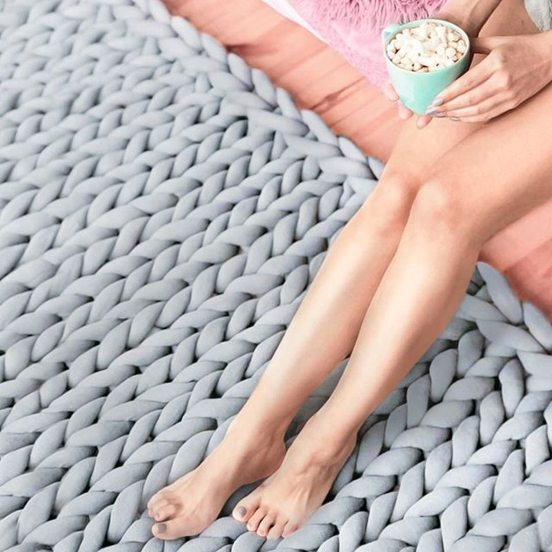 Hand Knitted Chunky Wool Blanket 1