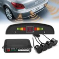 Car Parking Sensors 4 Black 13mm Sensors Reverse Backup Radar Detector Led Display Sound Buzzer Alarm