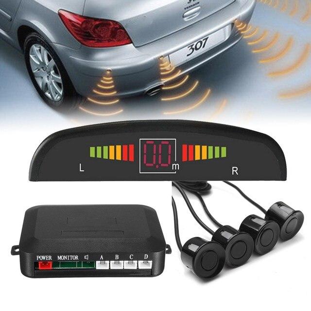 Car Parking Sensors 4 Black 13mm Sensors Reverse Backup Radar Detector Led Display Sound Buzzer Alarm