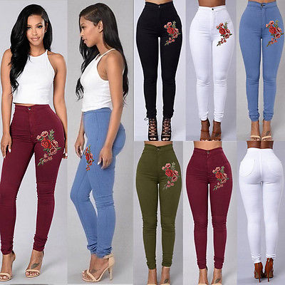 WOMENS HIGH WAISTED ROSE EMBROIDERY STRETCHY SKINNY JEANS JEGGING PANTS 6-18