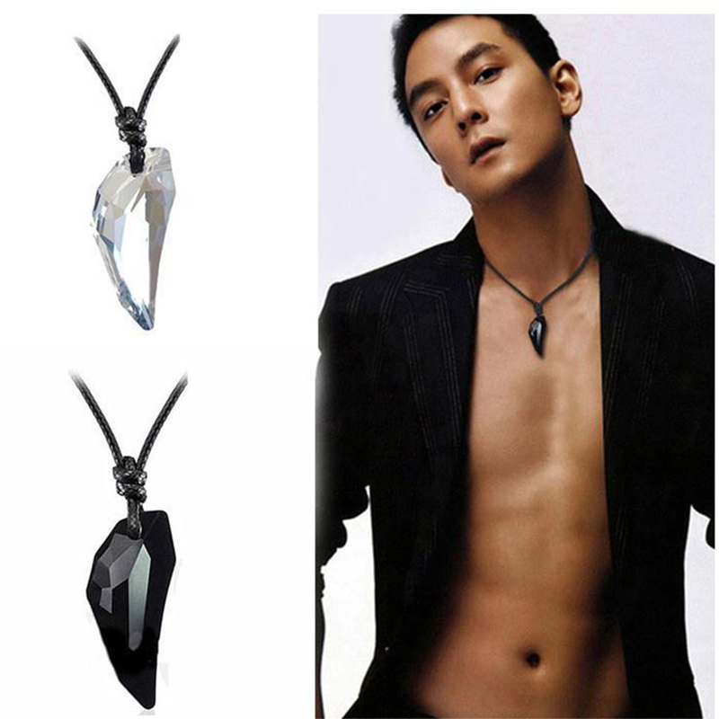 OCTBYNA Fashion Spike Wolf Tooth Crystal Pendant Leather Rope Necklace For Men Cool Vintage Necklace For Unisex Women Jewelry