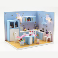 DIY Doll Houses Furniture LED Lights Wooden Dollhouse Handmade Miniature Love Kitchen Model For Children Christmas