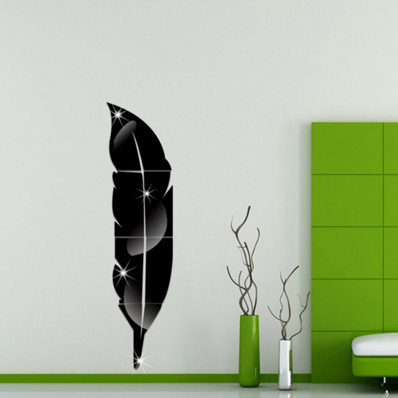 3D Feather Shape Fitting Mirror Wall Stickers for Living Room Bedroom Toilet