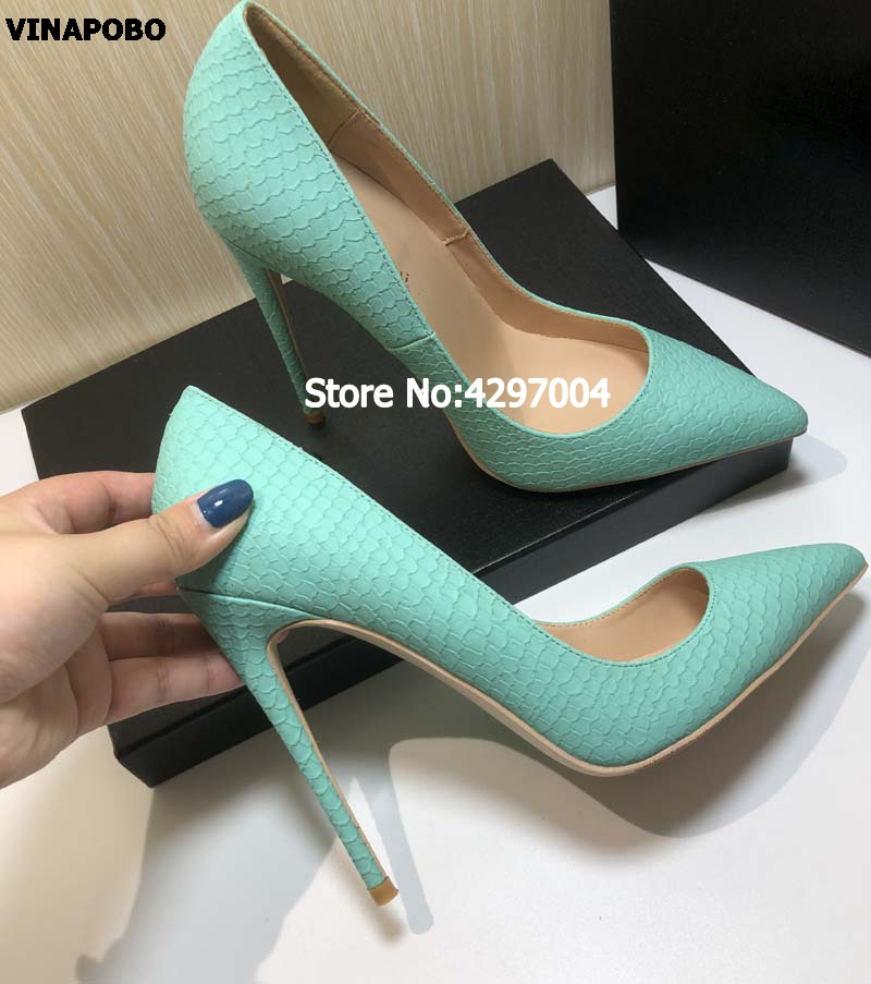 Free shipping fashion women Casual Pumps Green printed snake python Pointy toe high heels shoes Party