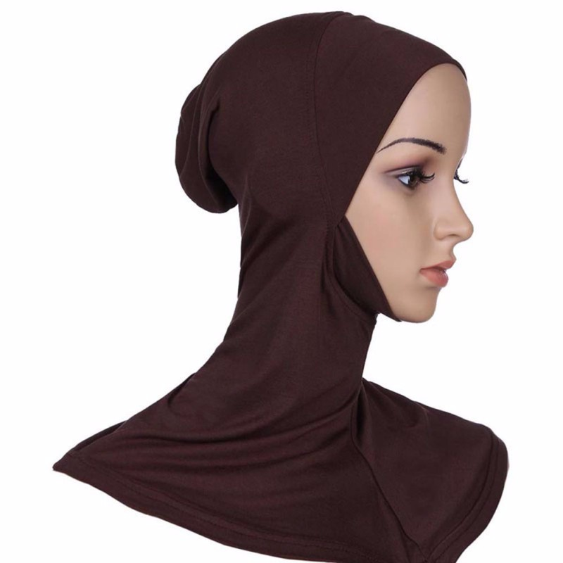 Hijab Headwear Full Cover Underscarf Ninja Inner Neck Chest Plain Hat Cap Scarf Bonnet 2017 4