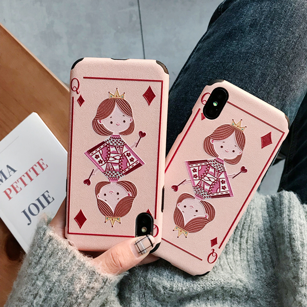 Case For iPhone X Xs Max XR 6 6s 7 8 Plus Back Cover Playing Cards Square Box Block Q Safe Pink Mobile Phone Anti-knock Cases