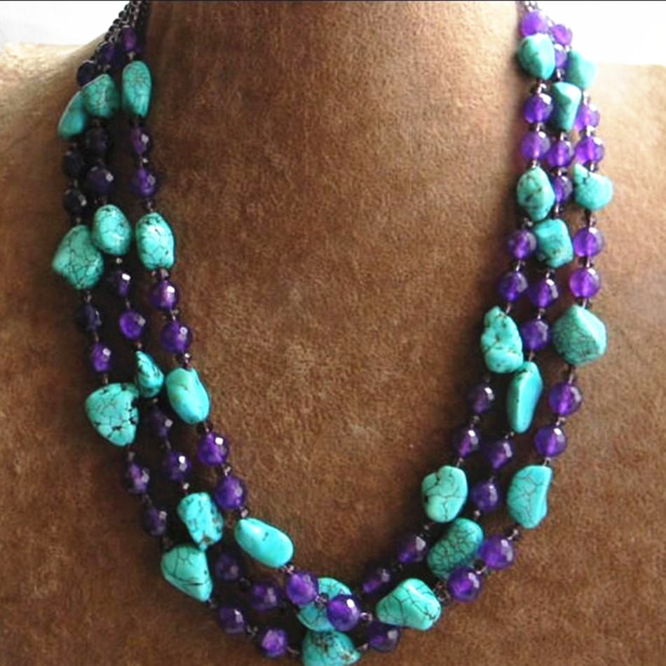 Elegant 3 rows faceted round purple stone irregular calaite turquoises beads necklace romantic women jewelry 17-19inch BV359