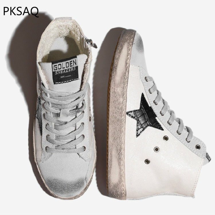 Spring Autumn Women Shoes Five Star Makes Old Sequined High Dirty Sneaker Lace-up Flat Casual Shoes Fashion Ladies Boots autumn winter new women purple little dirty do old shoes horse hair fur white shoes ladies star lace up flat casual shoes