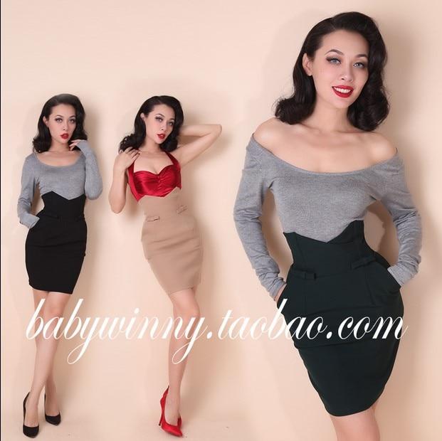 Vintage Beige Jupe Match Mode Tout Et Amérique Noir Taille En Haute Buste Europe noir Angleterre Femme Style Beige Vert Arc Aw0a0qOF