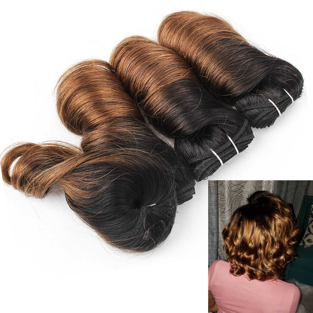 Pelo de MOGUL Ombre miel Rubio amor rizo corto estilo de Bob Ombre no Remy cabello humano Color Natural 155 g/set onda suelta brasileña