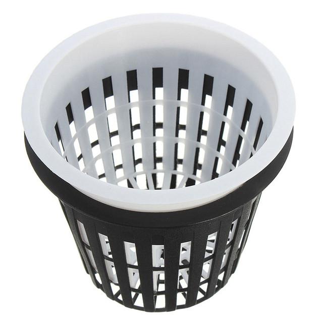 10pcs/Lot 35mm  Black White Plastic Hydroponic Planting Mesh Net Pot Baskets Garden Plant Grow Cup