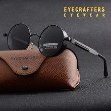 Eyecrafters Round Metal Polarized Sunglasses Gothic Steampunk Sunglasse