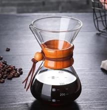 Классическое Стекло эспрессо кофеварка Chemex стиль залейте над Кофеварка машинный фильтр кофе горшок 400 мл