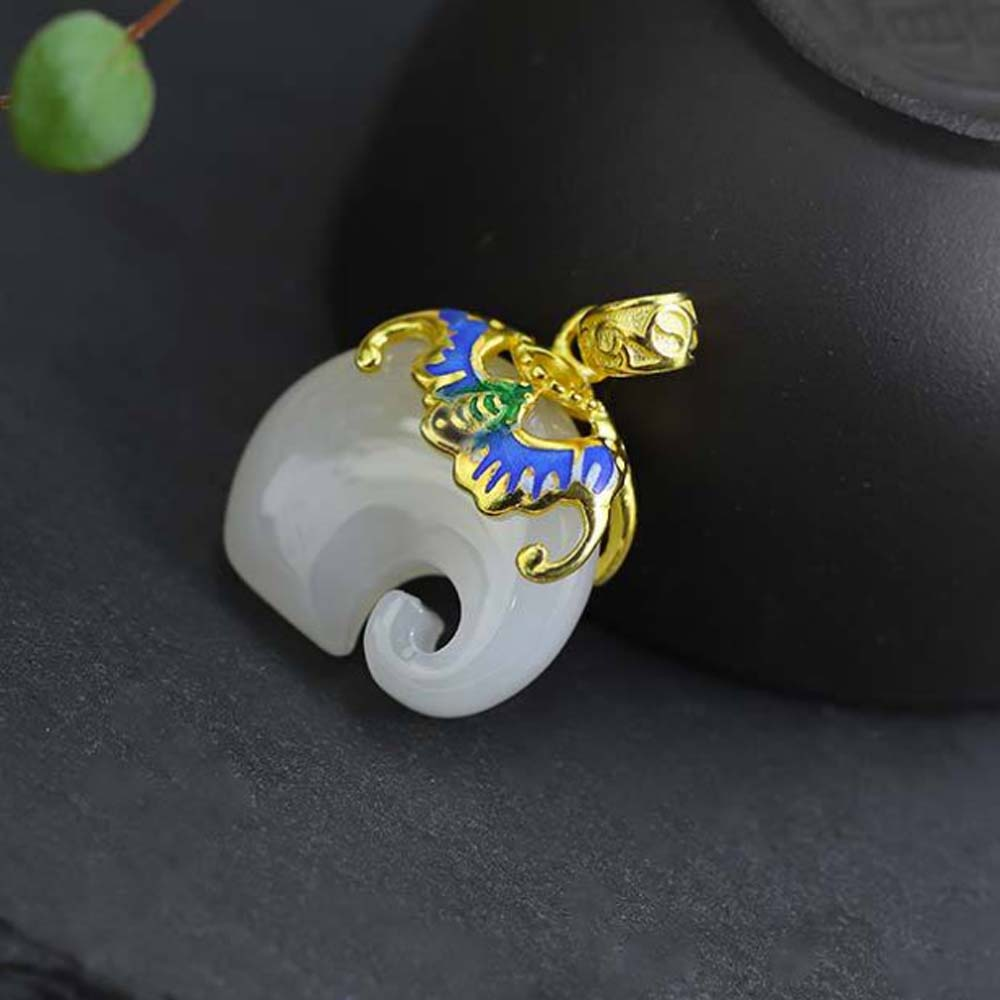 Jade Angel Gold Plated 925 Silver Enamel White Jade Elephant Pendant Necklace Silver Wheat Chain Valentines Day GiftsJade Angel Gold Plated 925 Silver Enamel White Jade Elephant Pendant Necklace Silver Wheat Chain Valentines Day Gifts