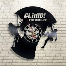 High Quality Vinyl Record Wall Clock Modern Design Wall Clocks Climbing Shape Quartz Mechanism Black Vinyl Record Reloj