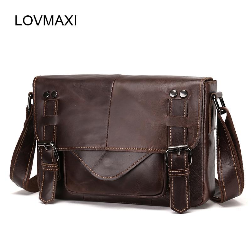 купить LOVMAXI Genuine leather Men's messenger bags Restro shoulder bags for men coffee leather handbags Wax oil leather bag Causal по цене 2857.93 рублей
