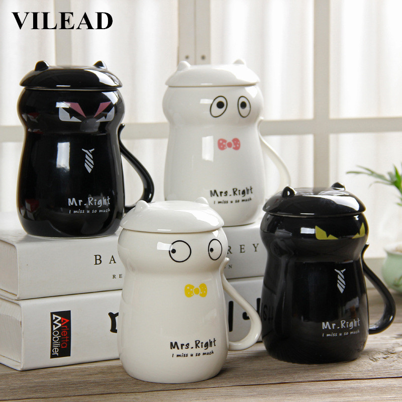 VILEAD Novelty Gifts Creative Cartoon Ceramic Coffee Cup Cat Lovers Couple Milk Tea Drink Porcelain Office Water Cup with Lid