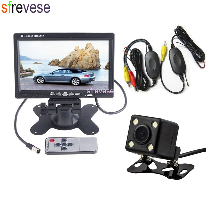 Wireless Reverse Parking Backup Camera 170 Degree 4 LED Sensors Waterproof + 7