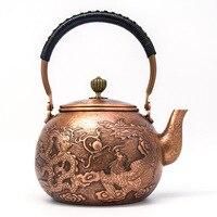 2018 new style 1.3L Copper pot pure handmade antique copper kettle teapot boiled water tea set Teapots     -