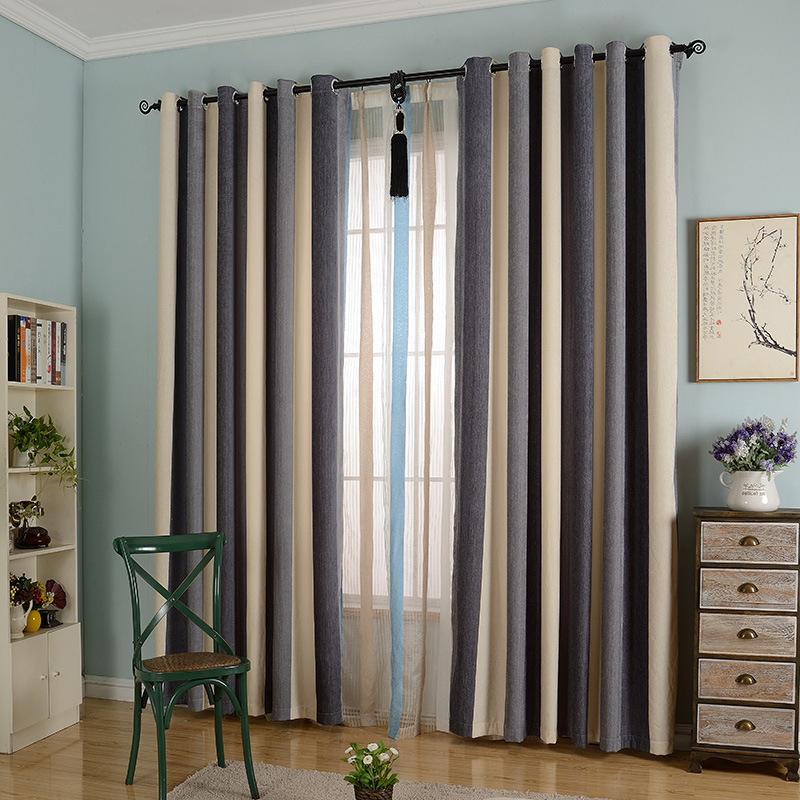 byetee ventana chenille a rayas tela de la cortina moderna puerta de la cocina
