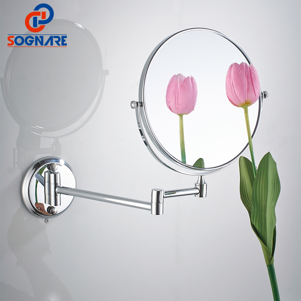SOGNARE 6Inch/8 Inch Wall Mirror For Bathroom Chrome Polished Magnifying 3X Dual Arm Extend Bath Mirror Bathroom Accessories large 8 inch fashion high definition desktop makeup mirror 2 face metal bathroom mirror 3x magnifying round pin 360 rotating