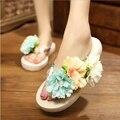 Женщины Сандалии Мода Цветок Летние Сандалии Клинья Вьетнамки Платформы Тапочки Обувь Тапочки Zapatillas Sandalia Chinelo 01