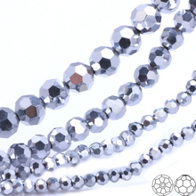 OlingArt 3/4/6/8mm Round Glass Beads Rondelle Austria 32 faceted crystal Silver color Loose bead DIY Jewelry Making