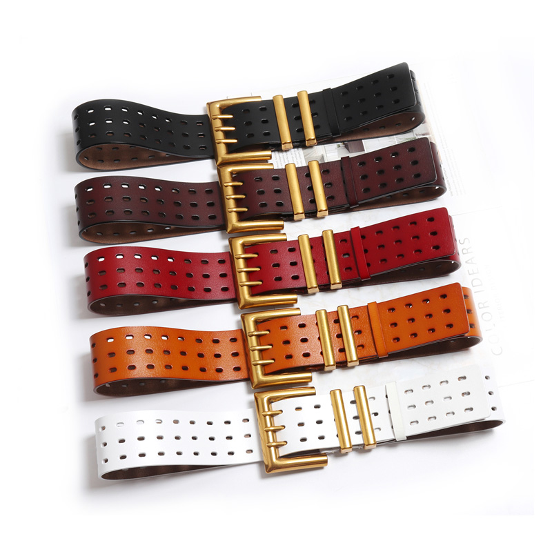 Women fashion autumn winter wide belt gold color metal buckle genuine leather black belts new 2018 black brown red white 100 105
