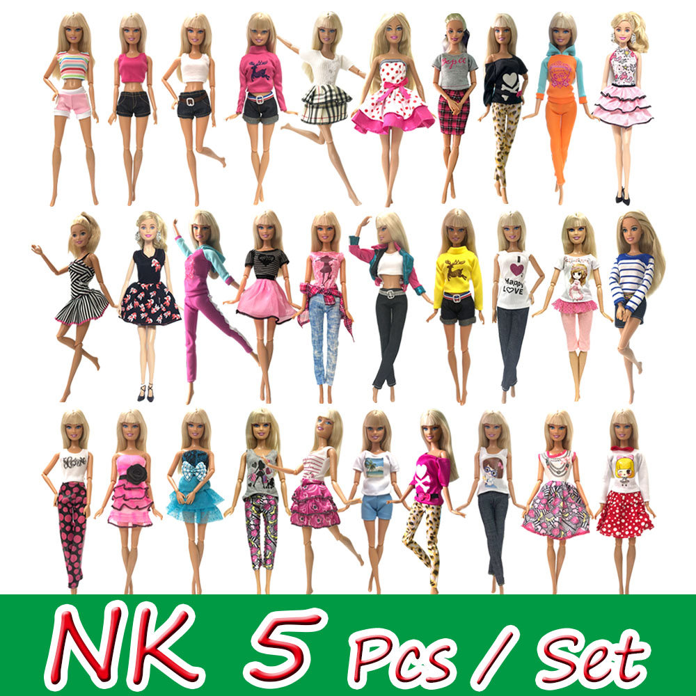 NK 5 Pcs/Set Princess Doll Dress Noble Gown For Barbie Doll Accessories Fashion Design Outfit Best Gift Girl' Doll  Toys JJ