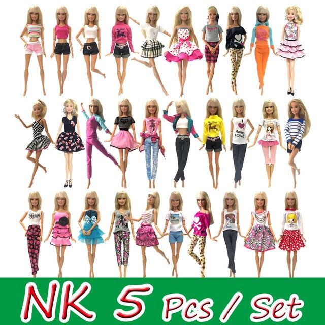 NK 5 pçs/set Vestido Da Boneca Princesa Noble Acessórios de Design de Moda Roupa Vestido Para Barbie Doll Melhor Presente Menina Boneca Brinquedos JJ