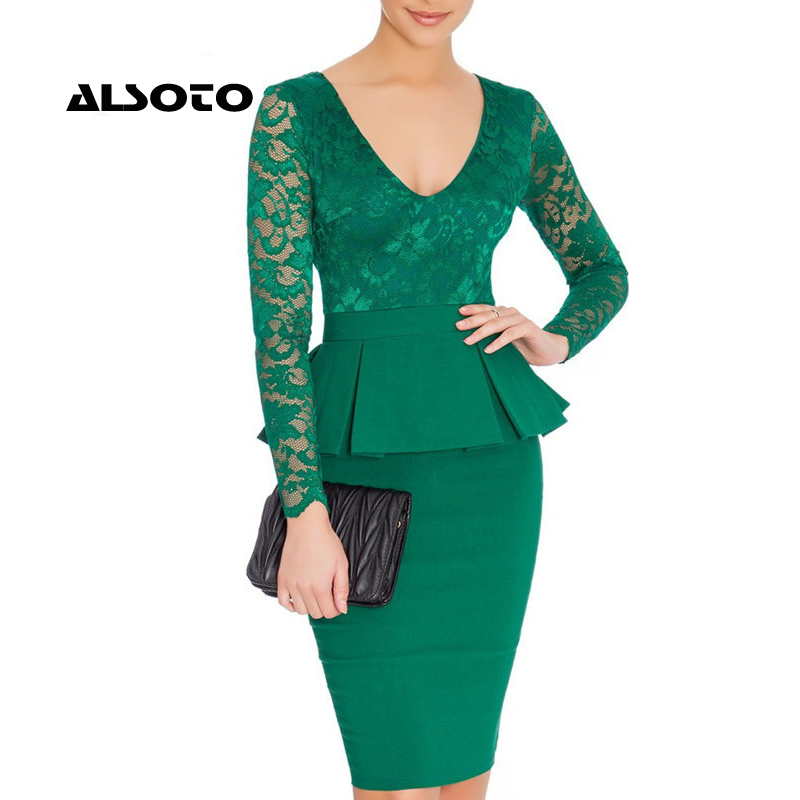 2017 Autumn Women Office Dress Lace Long Sleeve V Neck Bandage Dresses Ladies Work Party Gown Wear Ruffles Knitted UK TopQuality