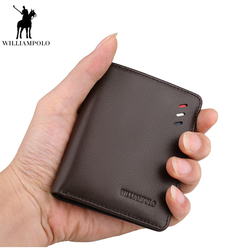 Williampolo Men Slim Wallet Ultrathin wallet Leather Genuine Leather Pouch Male Design Cowhide Purse carteira masculina PL250 williampolo genuine leather men design slim thin mini wallet male small purse credit card short coin ultrathin wallet pl250