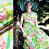 Jenny Silk Double Printing Silk Fabric Silk Cloth LB Stretch Satin Clothing Caroline Green Skirt