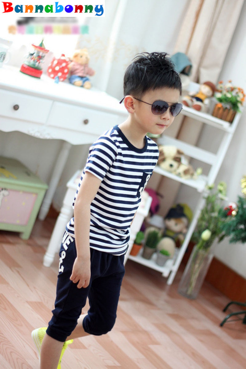 2017 Casual Boys Clothing Set Spring Autumn Kids Clothes Navy Long Sleeve Pullover Striped Sports Suit for Children kids boys long sleeve pullover shirt jeans denim trousers 2016 spring kids clothes casual boys clothing set
