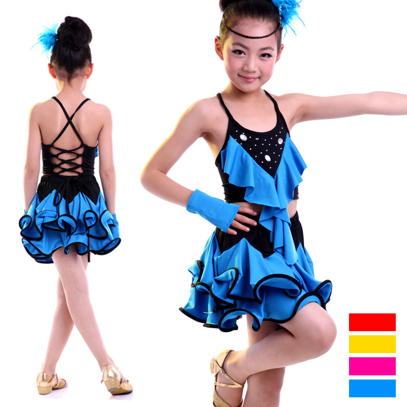 Dynamic 2017 Children Latin Dance Dress Big Skirt Dance Costume Girl Latin Dance Dress