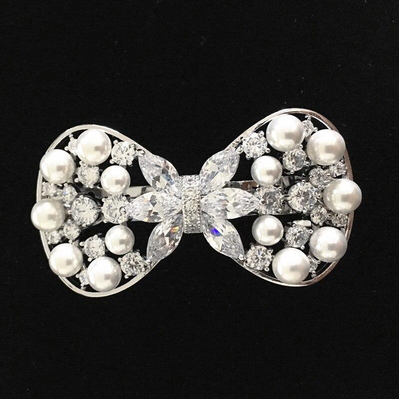 De pelo adornos Clip de la joyería nupcial CZ horquilla del pelo de la boda accesorios Bijoux Cheveux Mariage F00056 in Hair Jewelry from Jewelry Accessories