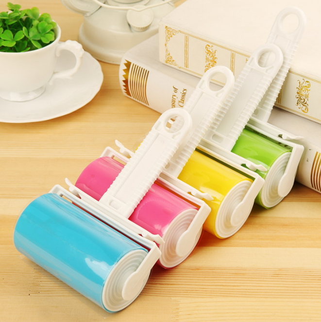 Small Washable Dedusting Lint Sticking Roller With Cover Recycled Clothes Sticky Hair Cleaning Wool Carpet Dust Catcher Duster