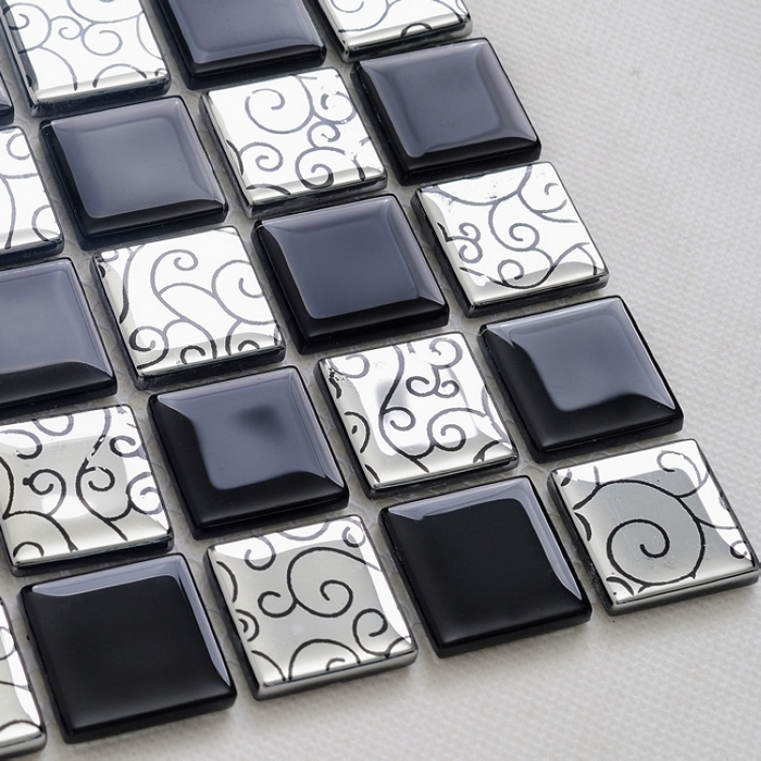 qara qarışıq gümüşü rəng kristal şüşə mozaika plitələr - Ev dekoru - Fotoqrafiya 1