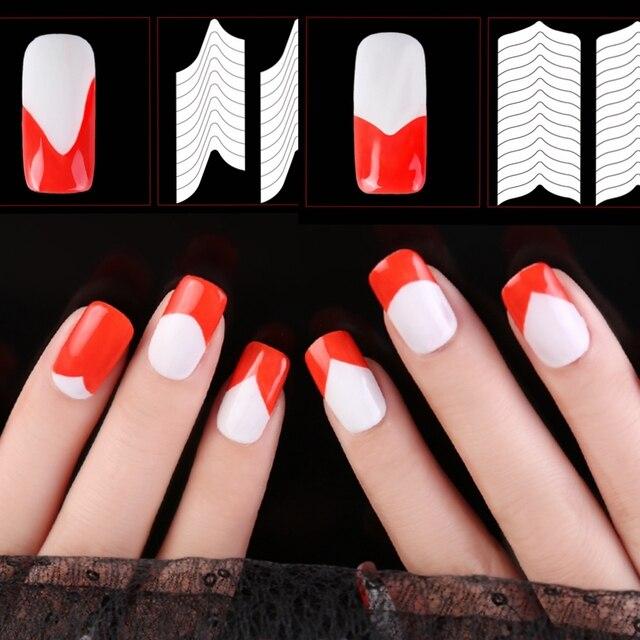 24 Style Nail Art Stencil Guide Sticker Set French Gel Polish Tip ...