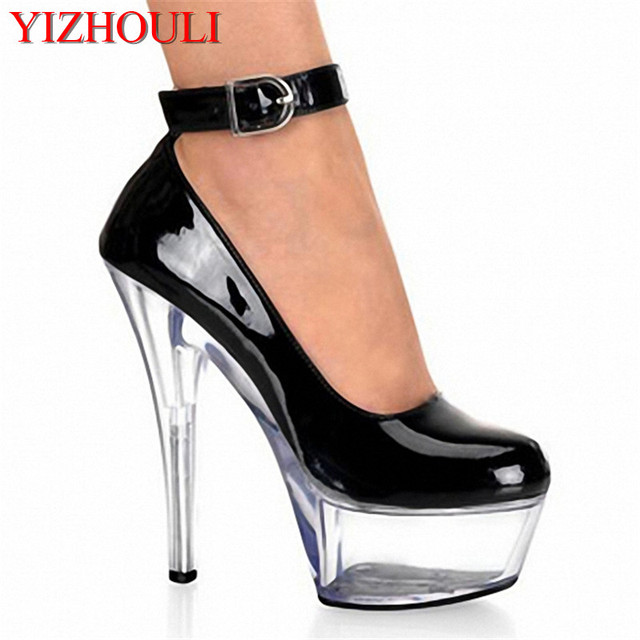 Sexy ankle strap chic PU leather pumps for women 15cm high heels, wedding/trendy multicoloured sheer heels