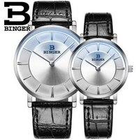 2016 New 2PC Luxury Fashion Binger Watches Women Wristwatch Men Couples Lovers Leather Belt Quartz Watches