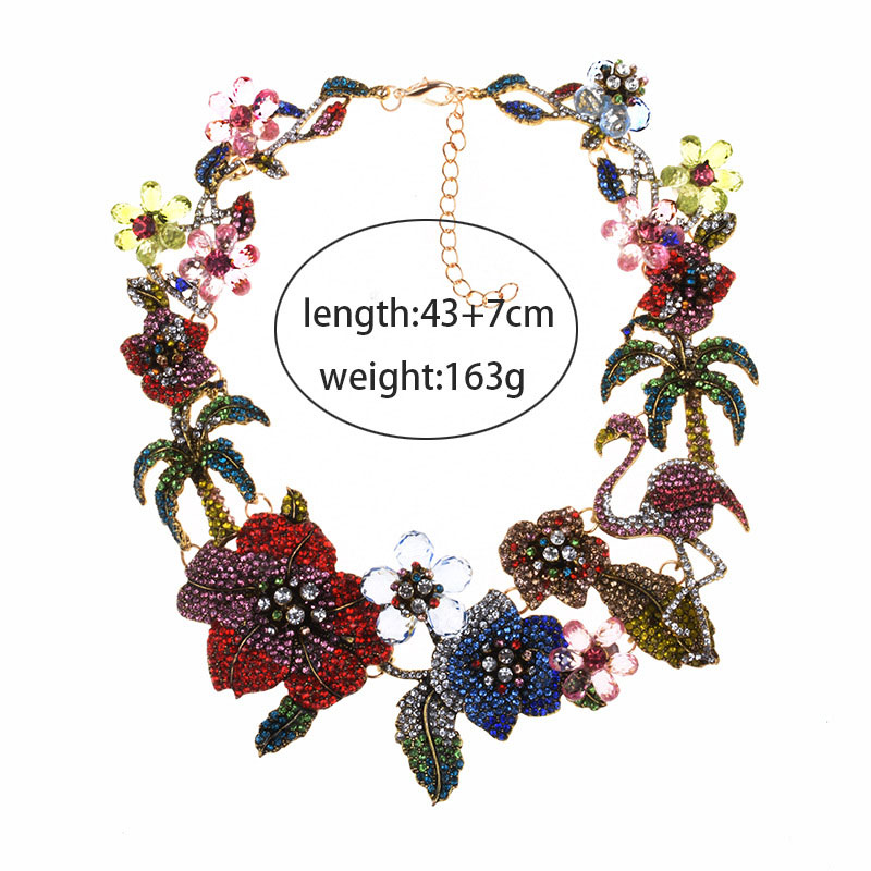 Women Classic Flower Flamingo Rhinestone Necklace for Ladies Party Wedding Fashion Necklace Jewelry Accessories in Chain Necklaces from Jewelry Accessories