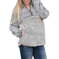 Женский тонкий хлопковый мягкий базовый топ женский теплый Пушистый Зимний однотонный Повседневный свитшот на молнии пуловеры верхняя оде