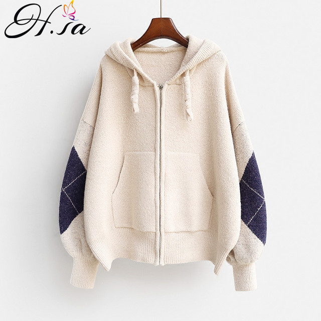 73179df4298 HSA Women Winter Sweater Cardigan 2018 New Fashion Hooded Knit Jacket Coat  Female Casual Thick Warm Hooded Sweaters Cardigans