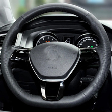 High Quality cowhide Top Layer Leather handmade Sewing Steering wheel covers protect For Volkswagen VW Lavida/Passat/Touran