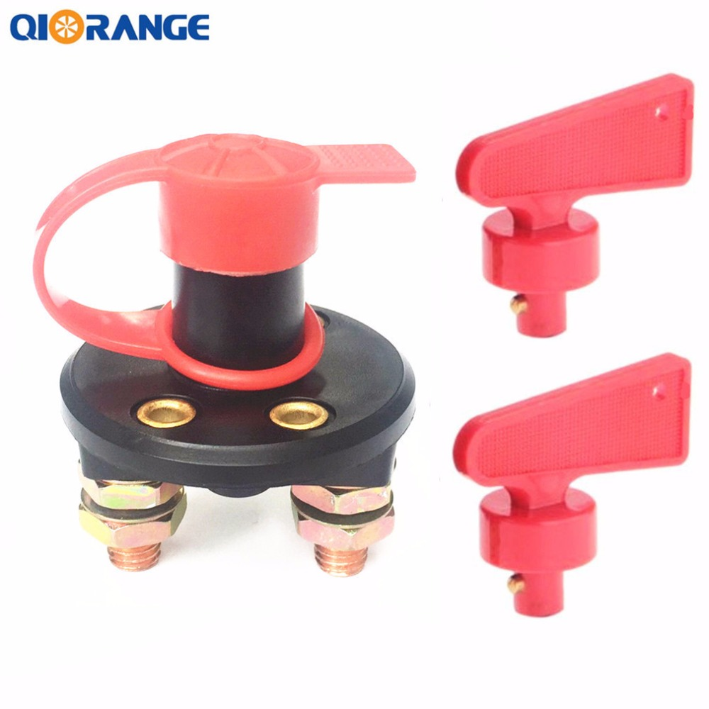 QIORANGE DC 12V-24V Car Truck Boat Battery Isolator Disconnect Vehicle Auto Cut Off Switch with Removable Key qiorange battery switches disconnect isolator master 1 2 both off selector switch for marine boat car rv vehicles
